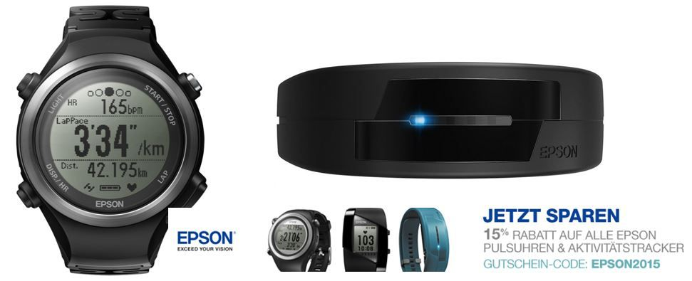 Epson Epson Aktivitätstracker Pulsense PS 100 für 109,65€ dank 15% Amazon EPSON Gutscheinaktion