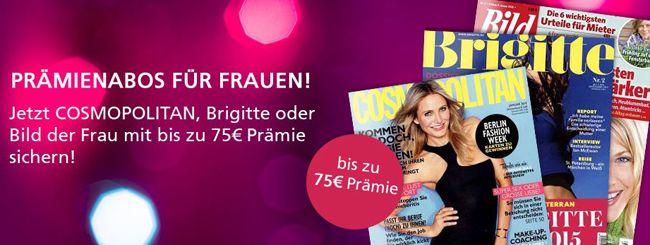Frauen Zeitschriften Günstige Jahresabos für Frauen   z.B. Cosmopolitan mit effektiv 4€ Gewinn dank Gutschein Prämie