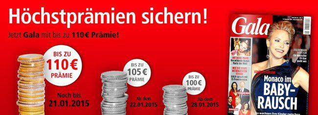 Jahresabo der Gala ab effektiv 35,80€ dank hoher Prämie