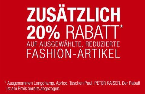 20% Rabatt auf ausgewählte Fashion bei Galeria Kaufhof + 10% Gutschein