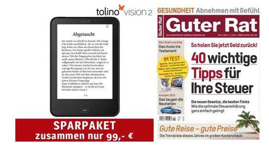 """Tolino Vision 2 E Book Reader + Jahresabo """"Guter Rat"""" für 99€   Update"""