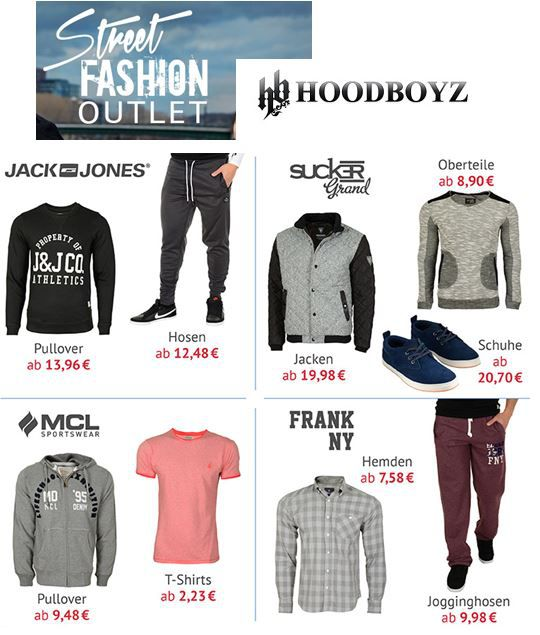 Jack & Jones T Shirts ab 7,16€ im Hoodboyz Fashion Outlet Sale mit 85% Rabatt   Update