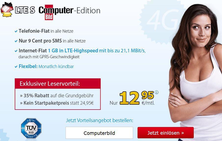 LTE DeutschlandSIM S Allnet Flat mit 1GB Daten (LTE) monatlich kündbar für 12,95€ monatlich