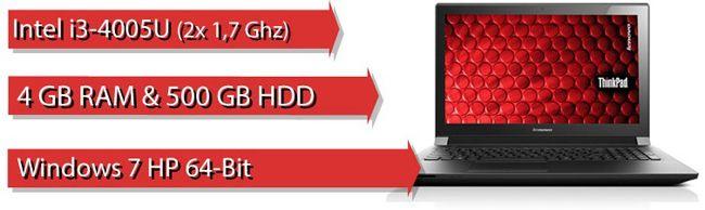 Lenovo B50 70 MCC2YGE Lenovo B50 70 MCC2YGE   15 Zoll Einsteiger Notebook (1,7GHz, 4GB Ram, 500GB, HDMI, USB 3.0) für 329€