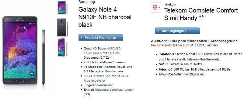 Samsung Galaxy Note 4 + Telekom Complete Comfort S für effektiv 25,83€ monatl.