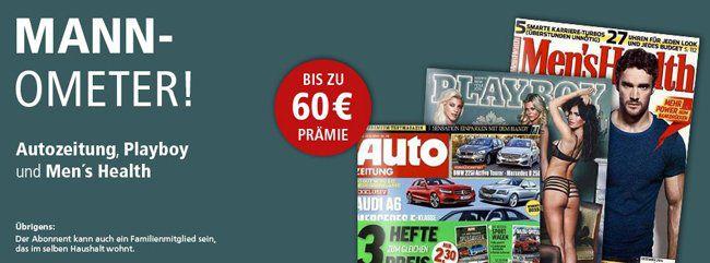 Männerzeitschriften im Jahresabo mit Gutschein Prämien   z.B. Playboy Jahresabo für effektiv 40,80€