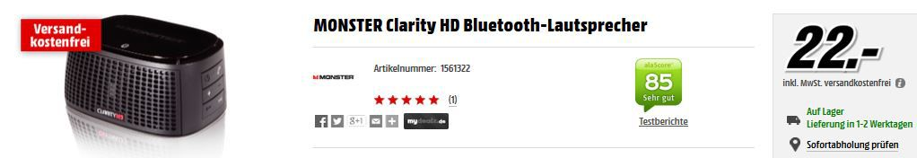 Monster Clarity HD Bluetooth Speaker für 22€   bei der MediaMarkt Gaming u. HiFi Aktion