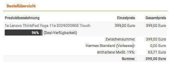 NBB Kasse Lenovo ThinkPad Yoga 11e   11 Zoll Convertible Notebook mit Touchdisplay für 399€