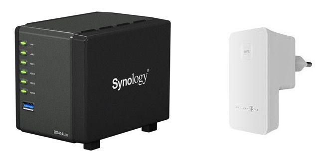 Synology DS414slim 4 Bay NAS Gehäuse für 191,99€ oder Telekom Speedport W100 WLAN Repeater für 26,89€