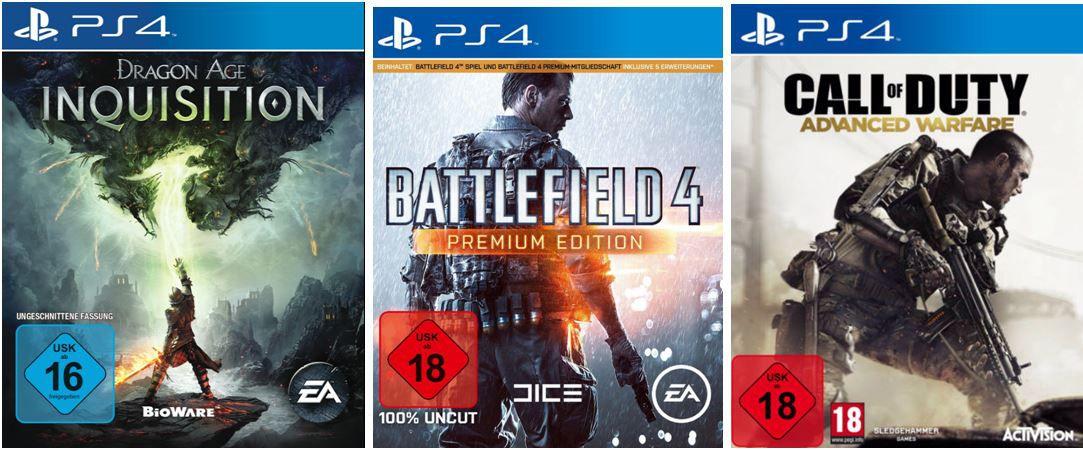 PS4 Games: Battlefield 4 PE   Dragon Age Inquisition   Call of Duty Advanced Warfare für je 45€
