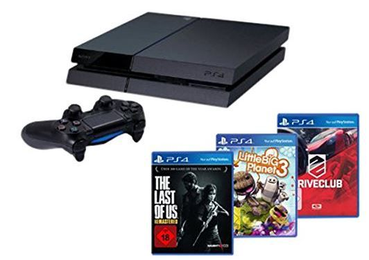 PS4 Bundle Sony Playstation 4 + The Last of Us + Drive Club + Little Big Planet 3 für 404€