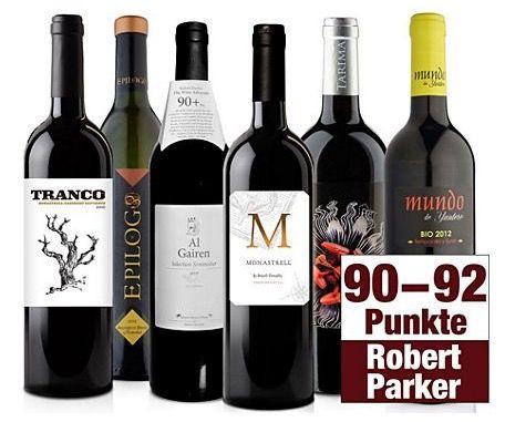 Parker Weinpaket Robert Parker Weinpaket mit 12 Rotweinen und bis zu 92 Punkten ab 54,95€