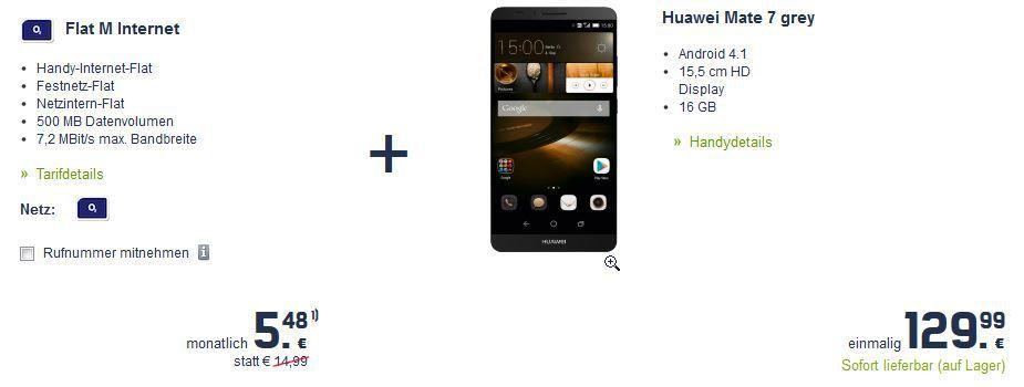Hammer! Huawei Ascend Mate 7 Smartphone im Wert von 424 mit  O² Vertrag Flat M für 262€ Gesamtkosten   Update