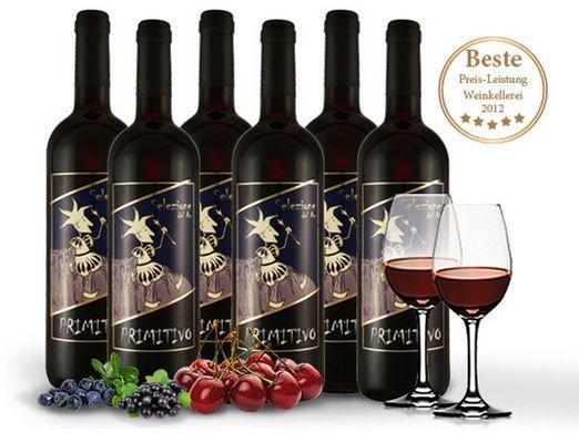 8 Flaschen Primitivo Selezione del Re 2012 + 2 Rotwein Gläser für 39,90€