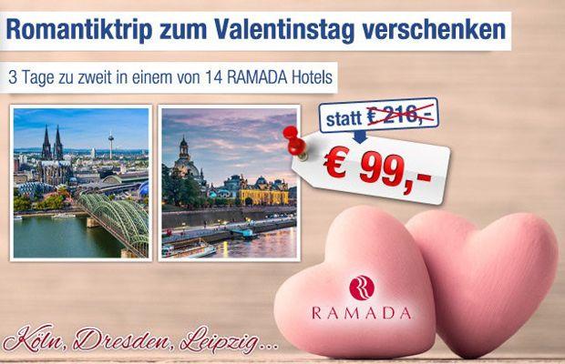 Ramada RAMADA   Gutschein für ausgewählte Hotels   2 Personen inkl. 2 Übernachtungen und Frühstück nur 84€   Update!