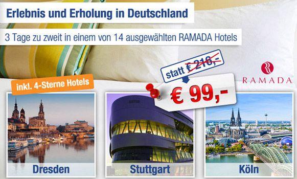 Ramada1 RAMADA   Gutschein für ausgewählte Hotels   2 Personen inkl. 2 Übernachtungen und Frühstück nur 84€   Update!