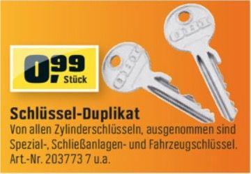 Schlüssel Duplikat statt 5,99€ für 0,99€ bei Obi und toom