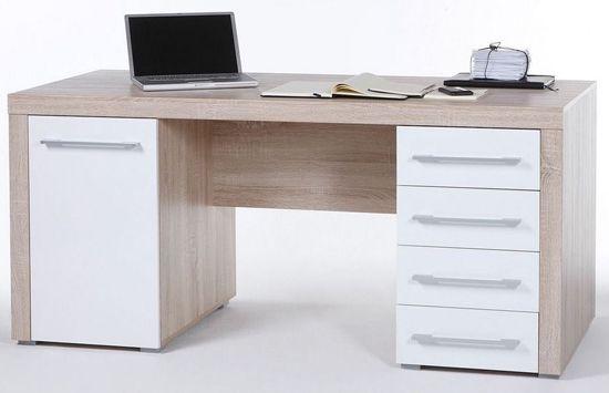 Schreibtisch Cube Schreibtisch Cube in Weiß/Sonoma mit 1 Tür und 4 Schubkästen für 148,95€