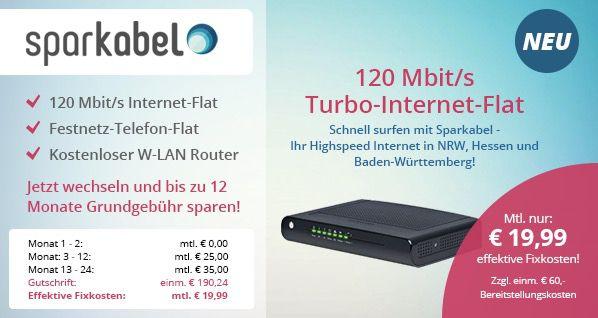 Unitymedia + Kabel BW Kombi Paket   2Play Plus 120 (120 Mbit/s) für effektiv nur 22,49€ pro Monat