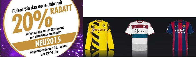 Subsidesports mit 20% Rabatt auf alles   z.B. Borussia Dortmund Trikot für 43,96€