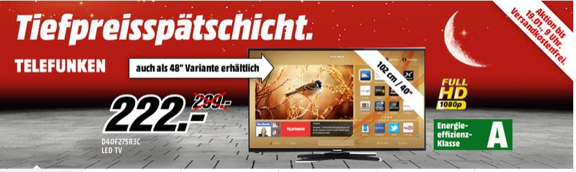 Telefunken Sale TELEFUNKEN D40F275R3C 40Zoll Smart TV für 222 oder mit 48 Zoll 333€ inkl. Versand!