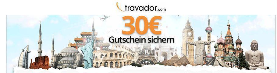 Travador 30€ Gutschein für eine Reise oder Hotelbuchung