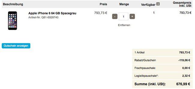 Viking Kasse TOP! 15% Rabatt auf Apple Geräte bei Viking   z.B. iPhone 6 64GB statt 779€ für 676,99€