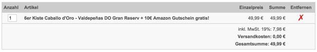 Weinvorteil Warenkorb 6er Kiste Gran Reserva mit Goldauszeichnung für 49,99€ + 10€ Amazon Gutschein geschenkt
