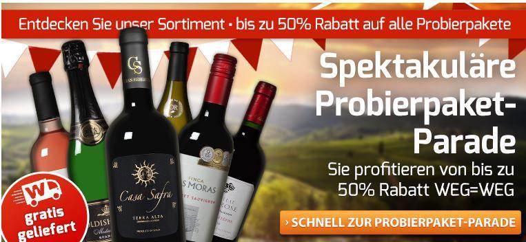 Weinvorteil1 Weinvorteil mit bis 50% Rabatt auf Probierpakete + Gutscheine