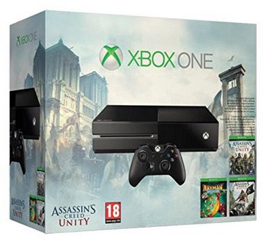 Xbox One + Assassins Creed: Unity + Assassins Creed IV: Black Flag + Rayman Legends für 353,14€