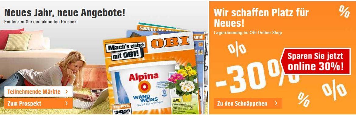 OBI: 30% Rabatt im Lagerausverkauf   gute Preise für Gartenmaschinen, Elektrotechnik oder Leuchten...