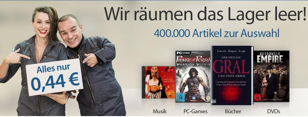 rebuy reBuy Lagerverkauf 400.000 Bücher, Musik, PC Games und DVDs ab 0,44€ + VSK