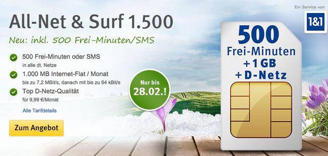 1 und 1 Allnet Flat Vodafone 500 Min/SMS + 1GB Surf Flat für 10,39€ monatlich oder 2GB für 15,39€