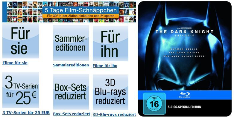 Amazon   5 Tage Film Schnäppchen mit 5€ Rabatt ab 30€   Update