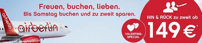 airberlin Valentins Special   Hin  & Rückflug zu zweit ab 149€
