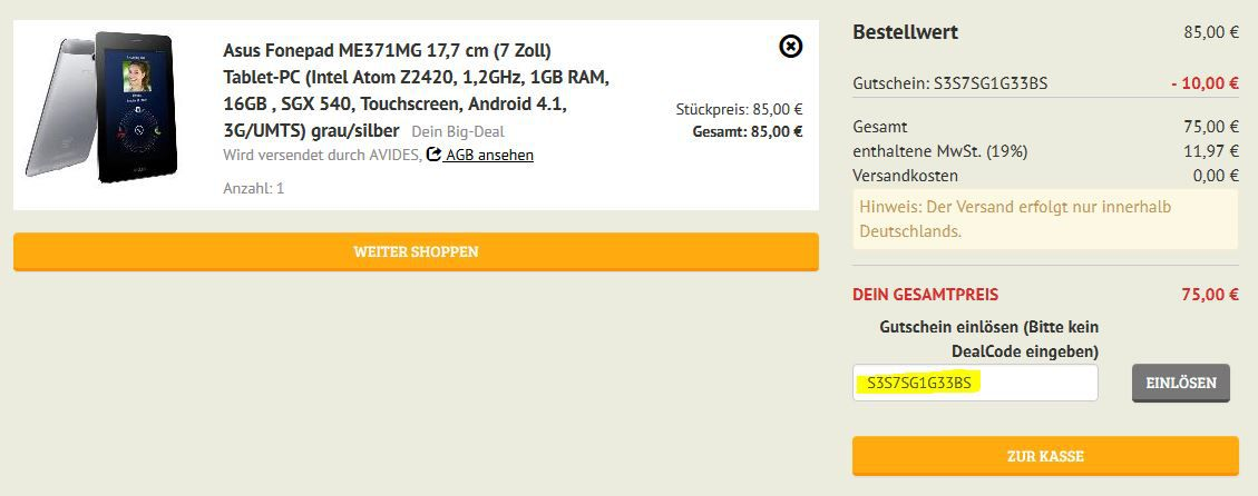 Asus Asus Fonepad ME371MG   7Zoll Telefon Tablet mit Android 4.1 ab 75€
