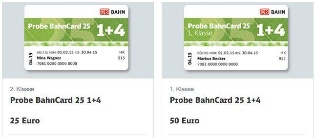 Probe Bahncard 25 1+4   3 Monate für 25€ testen   bis zu 5 Personen sparen je 25%