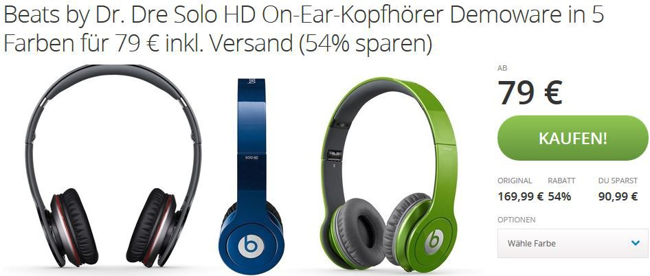 Beats by Dr. Dre Solo HD Demoware für 79€
