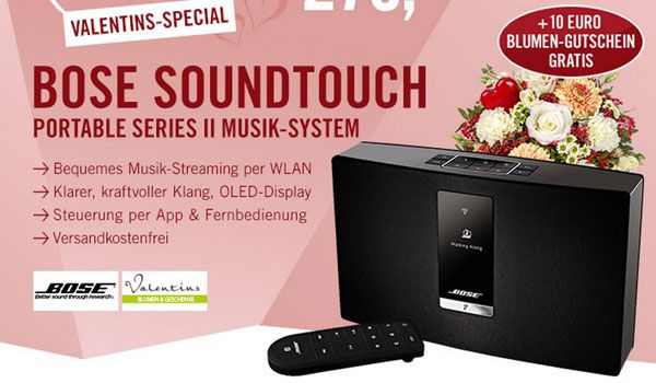 Bose SoundTouch Portable Serie II Bose SoundTouch Portable Serie II Wi Fi Music System + 10€ Blumengutschein für 279€
