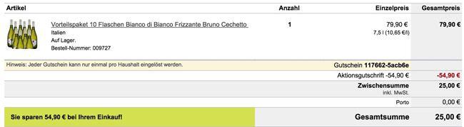 Ebrosia Warenkorb 10 Flaschen Bianco di Bianco Frizzante Bruno Cechetto für 25€