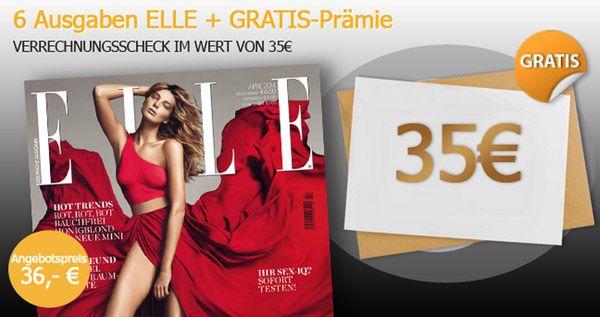 Elle 6 Ausgaben ELLE für 1€ dank 35€ Verrechnungsscheck