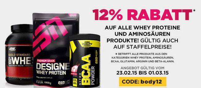 Fitmart 12% Rabatt auf alle Whey Proteine und Aminosäuren bei fitmart   z.B. 1kg ESN Whey ab 15,75€
