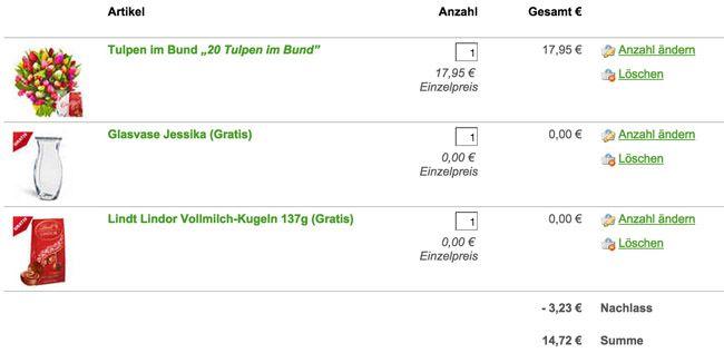 18% Rabatt ohne MBW bei FloraPrima + gratis Geschenke (Glasvase, Schokolade, ...)