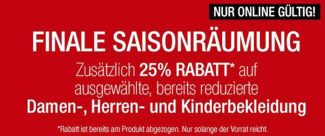 Galeria Final Sale Final Sale bei Galeria Kaufhof   25% Zusatz Rabatt auf reduzierte Kleidung + 10% Gutschein