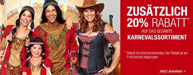 Galeria Karneval Karnevals Sale mit 20% Rabatt bei Galeria Kaufhof + weitere 10% Rabatt durch Gutschein