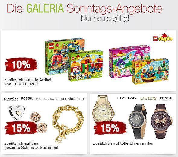Galeria Lego 15% Rabatt auf Uhren, 10% auf LEGO und mehr Galeria Kaufhof Sonntagsangebote