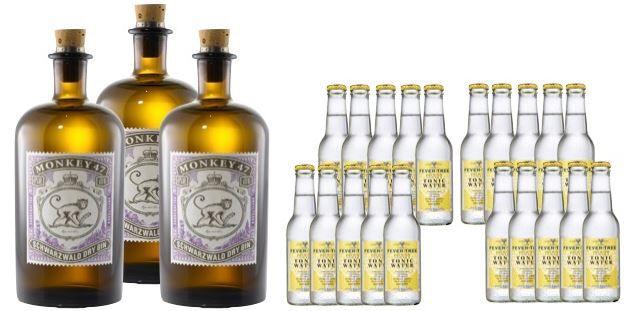 Gin Monkey 47 Monkey 47 Gin im 3er Pack + 20 x 0,2l Fever Tree Indian Tonic für 98,70€ (statt 124€)