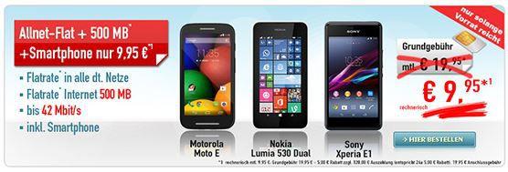 Handybude Motorola Moto E + TELE2 Allnet Flat + 500MB Daten für effektiv 9,95€   Hammer!