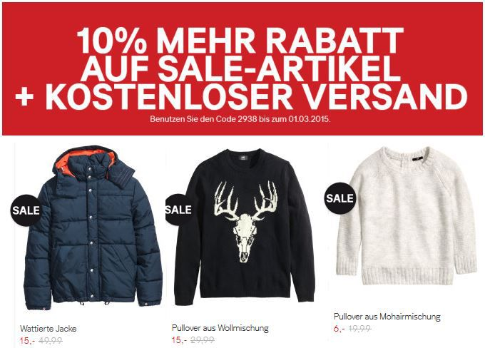 H&M mit bis 80% WSV Rabatt + 10% Sale Rabatt + VSK frei!