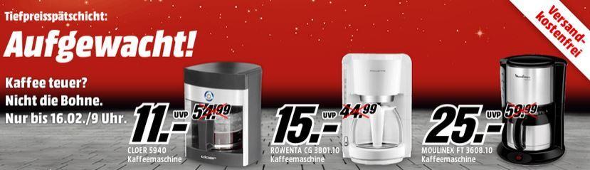 Kaffeemaschinen ab 5€ in der MediaMarkt Tiefpreisspätschicht   Update